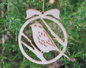 Natural Wood Bird Ornament