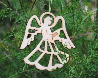 Natural Wood Angel Ornament