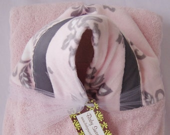 Pink Gray Hooded Towel - Monogrammed towel - Personalized Baby Towel - Toddler Towel - Pink Gray Floral Minky Hood - Best Baby Shower Gift