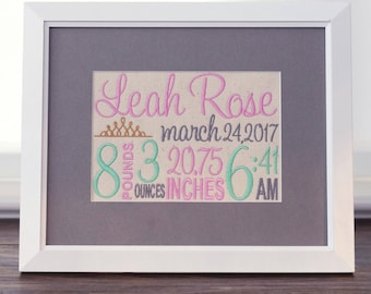 Princess Nursery Decoration - Crown Nursery Decor - Embroidered Birth Announcement  - Framed Baby Canvas 8X10  - Pink Mint Girlie Nursery