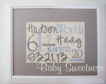 Embroidered Birth Announcement - Customized New Baby Gift - Nursery Decor -  8 X 10 Canvas - Birth Record -  Baby Collage - Birth Stats