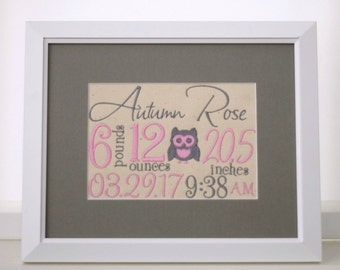 Owl Nursery Decorations - Owl Birth Announcement - Embroidered Wall Art - Custom Embroidered Gift - New Mom Gift - 8X10 Pink & Gray Nursery