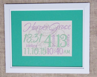 Birth Stats Decor - Purple Green Nursery - Canvas Birth Stats - Embroidered Birth Announcement - 8X10 - Lavender Green Nursery Embroidery