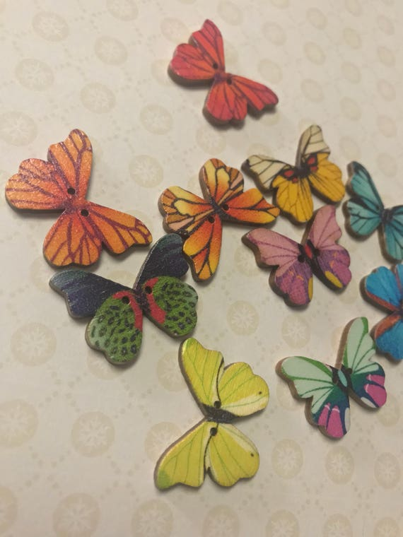 Colorful Butterflies Wooden Etsy