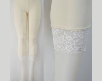 d874b873cb2 Sweetass Basics  Cream Bamboo Leggings With White Lace Trim