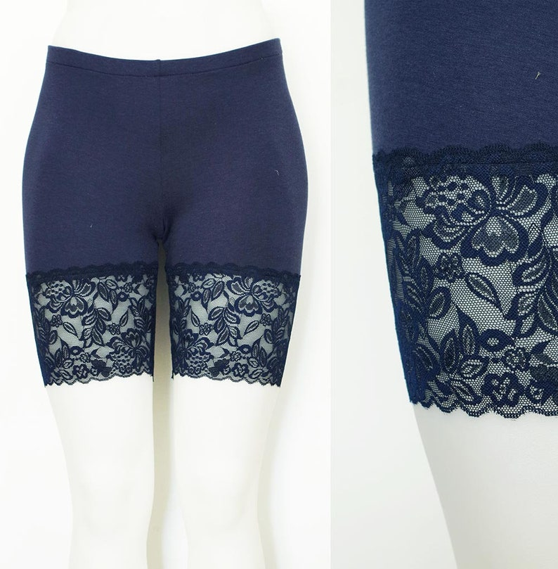 4cd0f29d40e9dc Lace Bike Shorts Navy Blue Bamboo also in Plus Sizes | Etsy