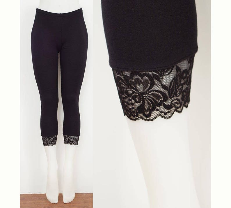 7bb3466d86a8c Sweetass Basics: Black Bamboo Leggings With Lace Trim | Etsy