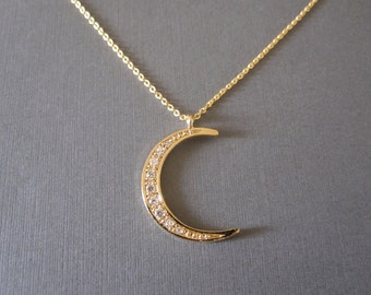 Gold Sparkly Crescent Moon Necklace