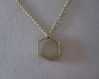 Geometric Hexagon Necklace - Geo Necklace - Tribal Necklace