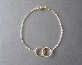 Gold & Silver Hammered Double Circle Eternity Bracelet