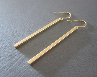 Gold Skinny Bar Earrings
