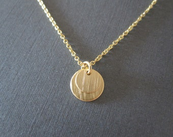 Gold Double Disc Necklace