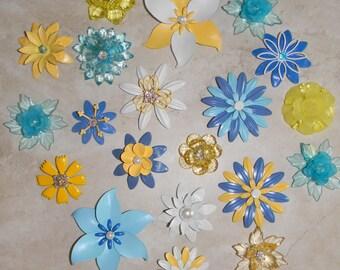 Create Bridal Bouquet 20 Vintage Retro Blue Yellow Metal Enamel Brooches