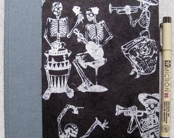 Large Unlined Handbound Hardcover Journal Skeleton Musicians Party Black/Silver