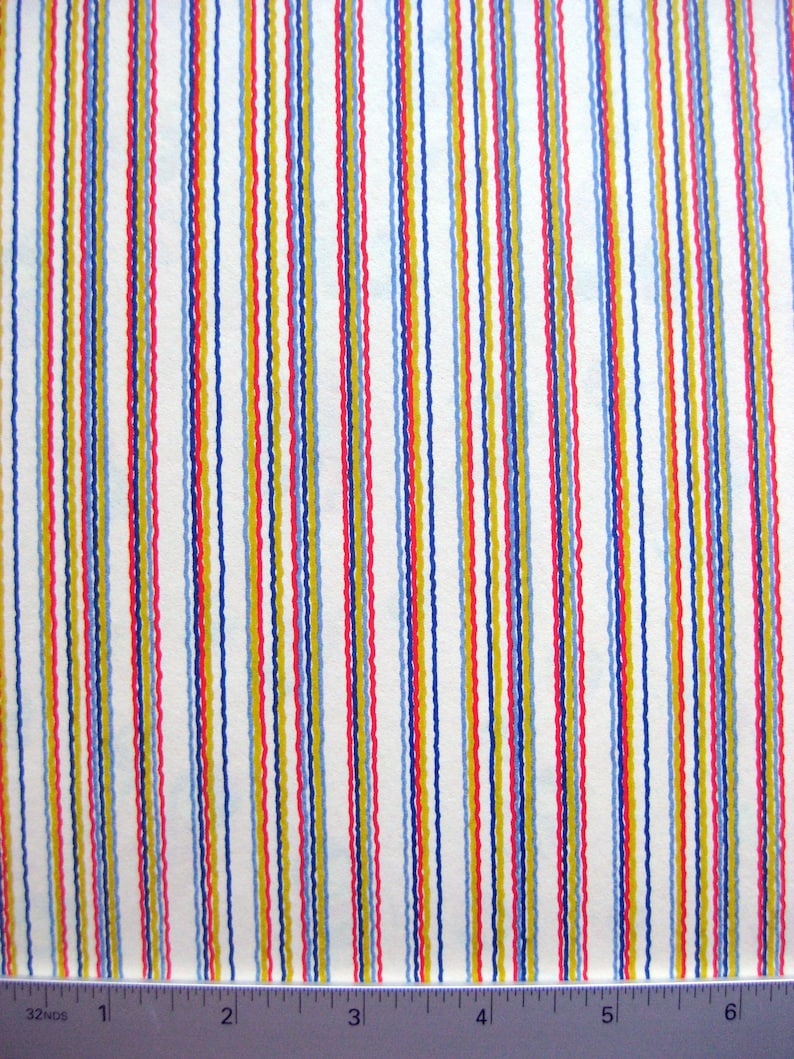 PAPER ONLY Chiyogami RedYellowBlue Primary Colors Squiggly Wavy Lines