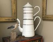 Antique French Enamel Biggin Cafetière Coffee Pot . 2 Handle . White Enamelware . Graniteware Kettle . Country French Primitive Farmhouse