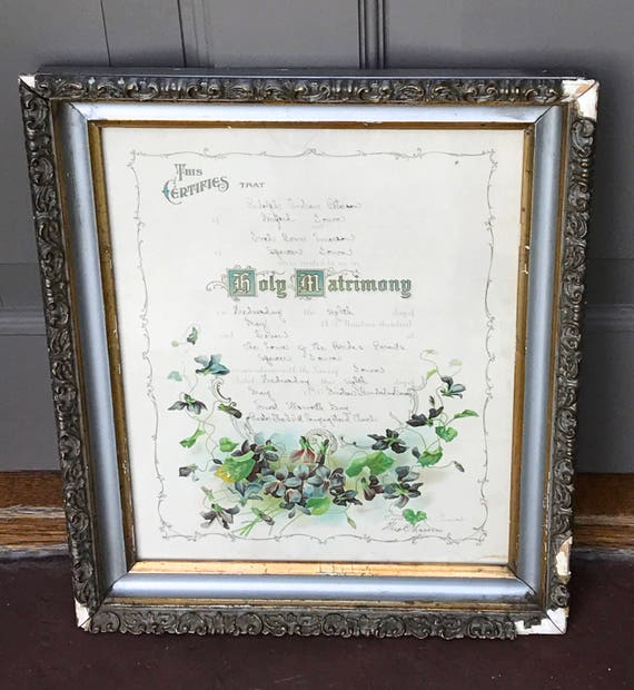 1907 Lithograph Marriage Certificate Ivah Fern Emerson Etsy