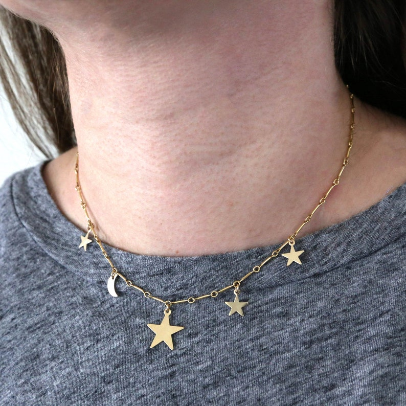 2e60e0086b2d0 Celestial Cluster Star and Moon Choker Bar Chain Necklace in 14K Gold  Filled / Sterling Silver / Minimal Simple Everyday Necklace