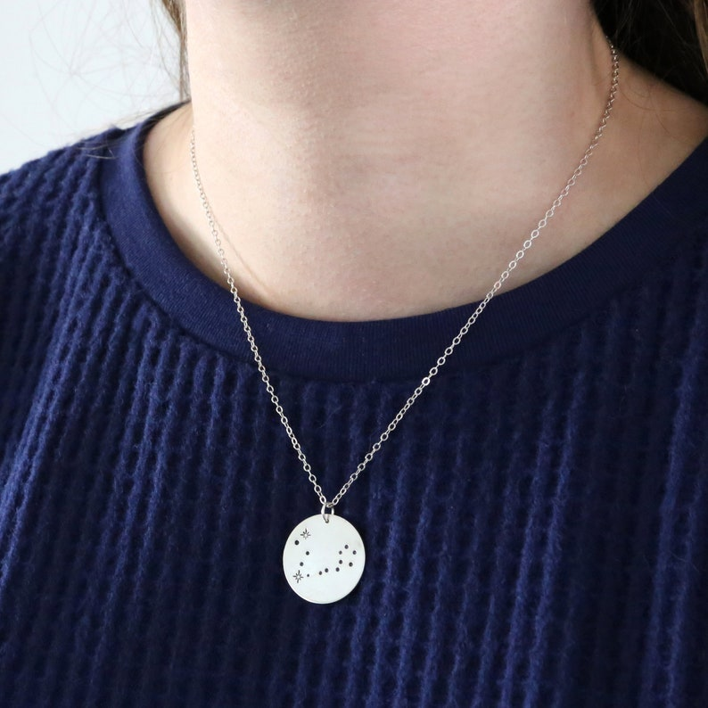 Pisces Stamped Constellation Stars Horoscope Coin Disc Necklace 14K Gold Filled  Sterling Silver  Gift Idea  Everyday Jewelry