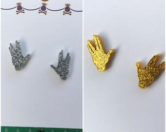 Star Trek inspired Vulcan hands earrings gold or silver