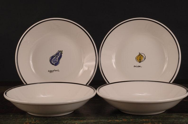 Italy Set of 4 La Primula Onion and Eggplant Pasta Bowls