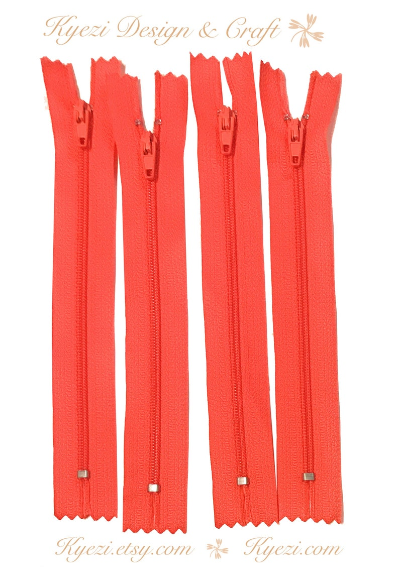 """NEW 10/"""" Red Nylon Coil Zippers Garment Clothing Sewing Crafts Trouser Lot QTY:10"""