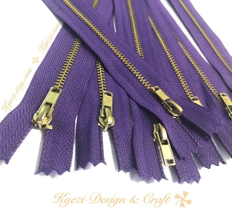 Brass Metal Teeth Zippers U.S SELLER Fast Shipping 3 5 10 pcs 8 inch Purple Tape