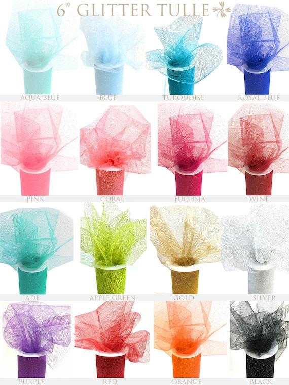 """Roll spool gift bow wedding tutu 10 GLITTER Tulle 6/"""" x 10 yd 6/""""x 30 ft"""