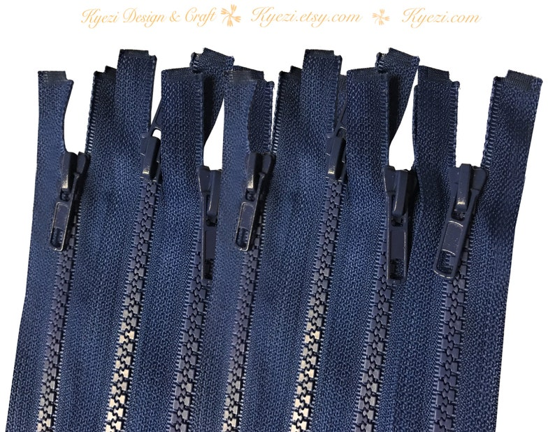 16 Inch Navy Chunky Teeth Molded Plastic Separating Sports Zippers Gauge 5