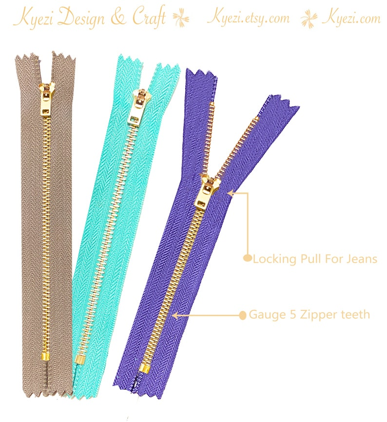 10 pcs 9 inch Jeans Zippers #5 Brass Closed Bottom Metal Zippers with Locking Slider Pink Blue Burgundy Grey Black Green Natural Hot Pink