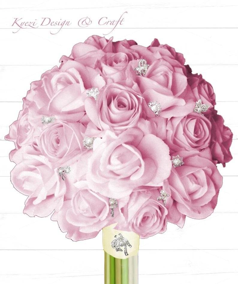 9pcs Rose Gold Gorgeous Luxury Sparkling Rhinestone Brooch High Quality Pearl Crystal Brooch Wedding Embellishment Kit Decoration Style 6