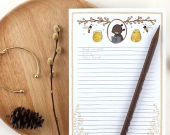 Notepad - Bear and Honey Bee