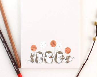 Notepad - Time for Tea Party, Hedgehogs