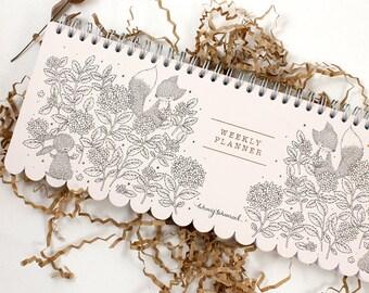 Weekly Planner - Rabbit, Fox & Hydrangea