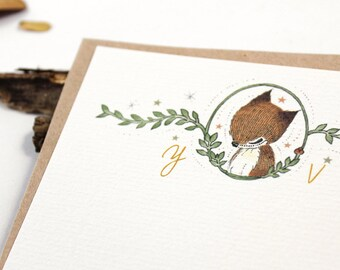10 Personalized Notecards - Hello, Thank You Fox