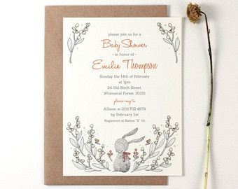 10 Personalized Invitations - Rabbit and Lily of the Valley