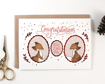 New Baby Card - Congratulations, New Little One - Copper Foil Greeting Card