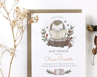Custom Book Themed Invitation Set - Hedgehog's Storybook