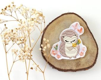 Iron On Patch - Hedgehog & Cherry Blossom