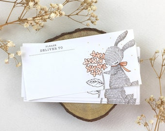 10 Mailing Labels - Rabbit & Hydrangea