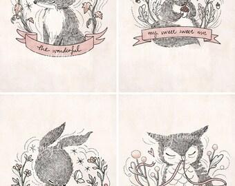Four Little Whimsies - 5x7 Print Set