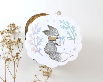 10 Holographic Foil Tags - Fox & Christmas Gift