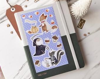 Halloween Waterproof Sticker Sheet - Trick or Treat with Fox, Hedgehog & Skunk