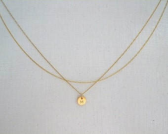 Initial Necklace, Gold Initial Necklace, Layered Initial Necklace, Double Chain Necklace, Double Chain Gold Initial Necklace,Thin Gold Chain