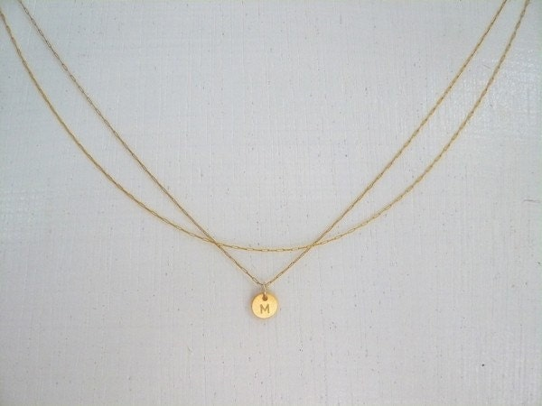 Dainty Double Chain Initial Necklace Delicate Gold Filled