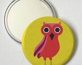 SALE Owl Pocket Mirror, Red Owl, Compact Mirror, Makeup Mirror