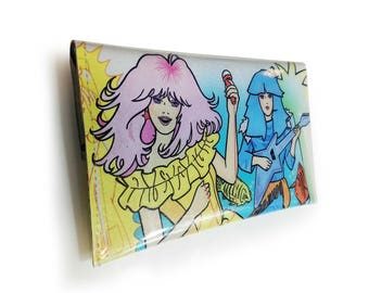 Jem and the Holograms Purse - Recycled 80s Vintage Book Page in PVC - Coin purse, Womens wallet, Retro Cartoon