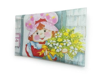 Strawberry Shortcake Purse - Recycled 80s Vintage Book in PVC - Womens wallet, Coin pouch,