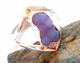 Grape Agate Sterling Silver Ring Size 9 earthegy #2057