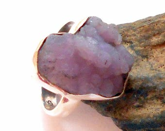 Grape Agate Sterling Silver Ring Size 7.5 earthegy #2058